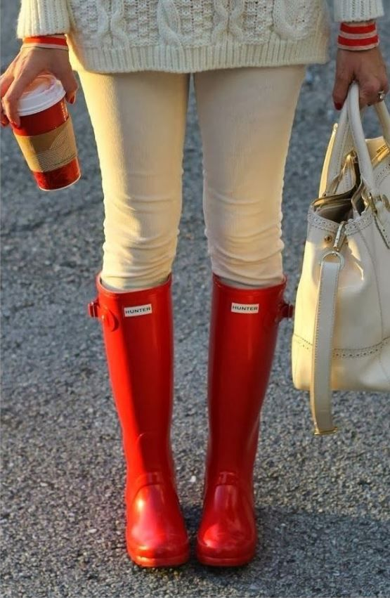 Love those red hunter boots