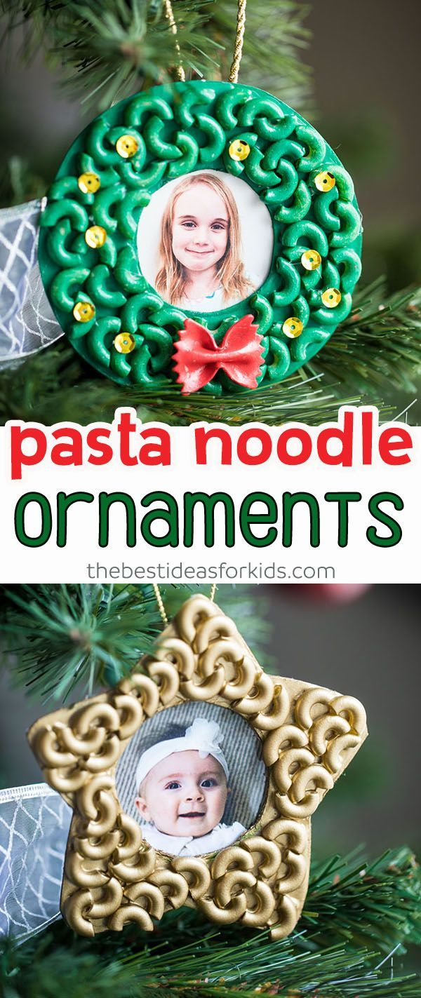 Pasta and Macaroni Noodle Ornaments – these are so easy kids of all ages can mak…