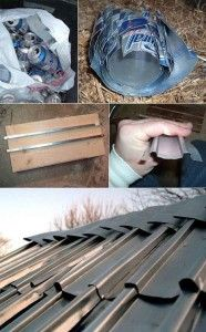 Instructables website shares how to make aluminum can shingles for projects around the homestead. As the economy becomes tougher more people are having to