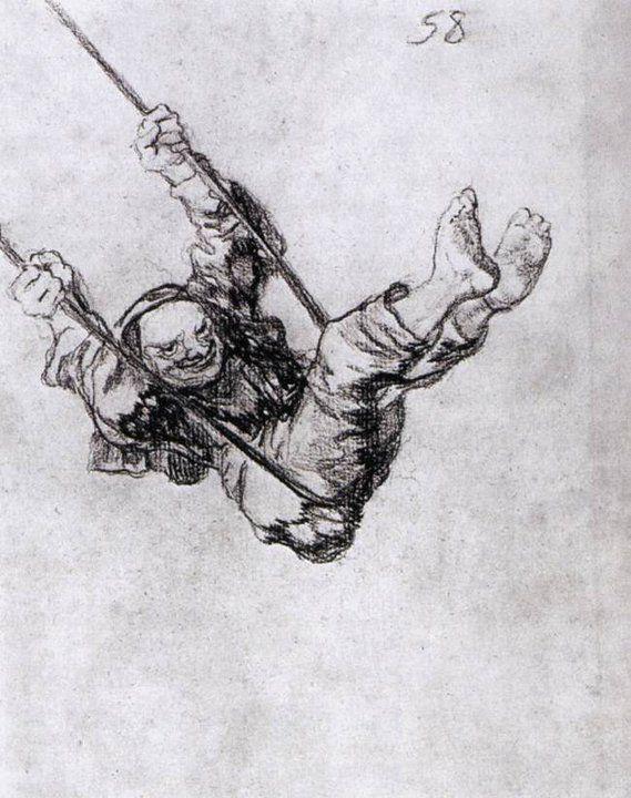 Francisco de Goya - Viejo sentado en un columpio