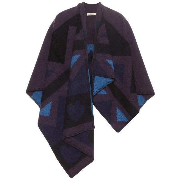 Burberry London Patchwork Wool and Cashmere Blend Cape featuring polyvore women's fashion clothing outerwear jackets cape coats burberry purple burberry cape purple cape cape coat