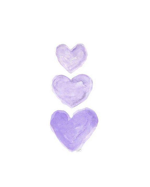 Purple Nursery Art  Heart Watercolor.