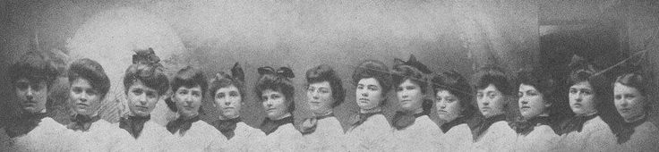 "The first National Convention is held in Farmville, Virginia, in the Main Building of the State Female Normal School starting June 6, 1903. Alpha Chapter members (pictured) played hostesses, and Maud Jones resided as President. The term ""fraternity"" was adopted at this time to describe ZTA, ""distinguishing ourselves from the sisterhoods organized in connection with men's fraternities, called sororities."""