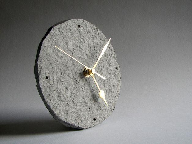 Earthy colours  at DaWanda Newspaper table clock- Simple and minimalist table clock made from scratch, 100% waste paper, for modern, minimalist interiors. – a unique product by BLURECO via en.dawanda.com