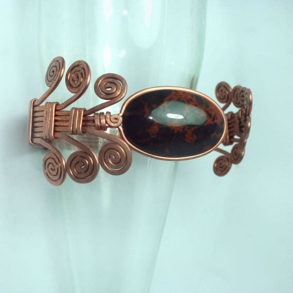 copper cuff adjustable bracelet with obsidian armband by ArtePora