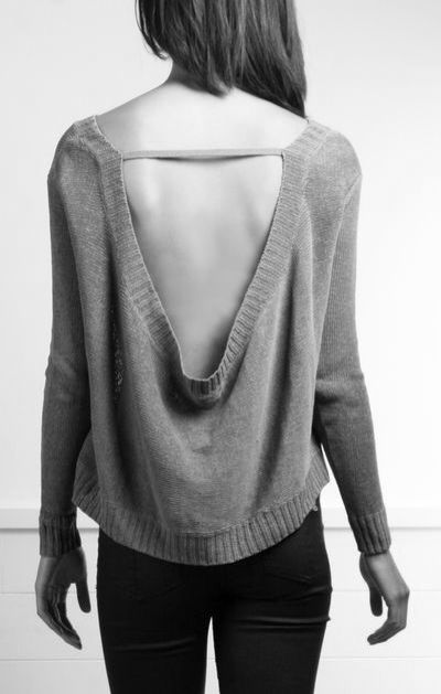 Grey sweater with draped open back; chic knitwear details // Inhabit