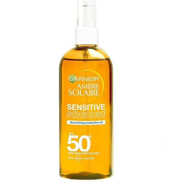 Ambre Solaire Sensitive Nourishing Protective Sun Oil SPF50+ 150ml (€525) ❤ liked on Polyvore featuring beauty products, bath & body products, sun care and ambre