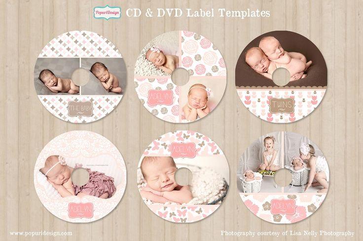 CD / DVD Label Templates by Popuri Design on @creativemarket
