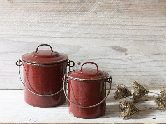 Vintage rustic lunch pails, Enamelware, Brown enamel lunch box, Kitchen decor, Storage cans