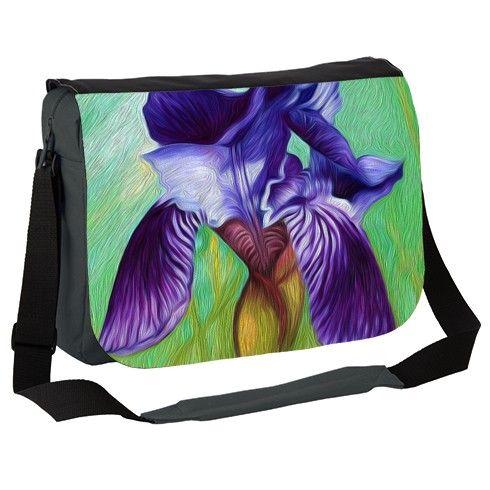 Blue Iris in my garden Messenger Bag by simon-knott-fine-artist at zippi.co.uk