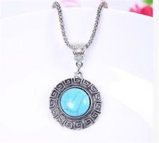 Vintage Jewelry Tibetan Silver Round Turquoise  Women Pendant Necklace  - https://barskydiamonds.com/necklaces/