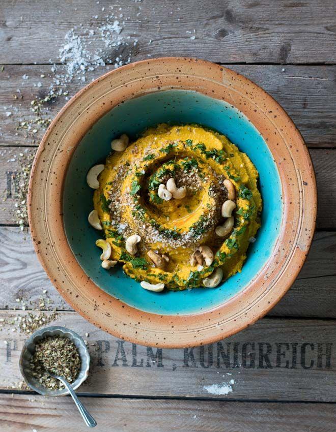 Rezept für Möhren Hummus mit nordafrikanischen Gewürzen. gesund, vielseitig, als Dip, Aufstrich oder Beilage