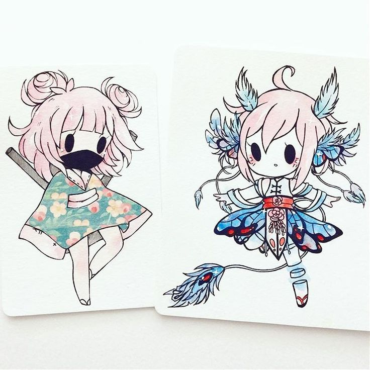 chibi commissions (link in bio) - closing tomorrow until December while I focus on school! left: washi tape ninja for cathryn right: original character by janice