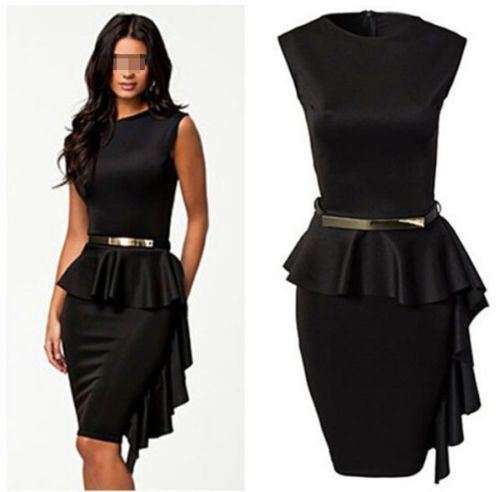 New Sexy Women's Bodycon Slim Black Mini Dress Cocktail Club Party Dress Belt