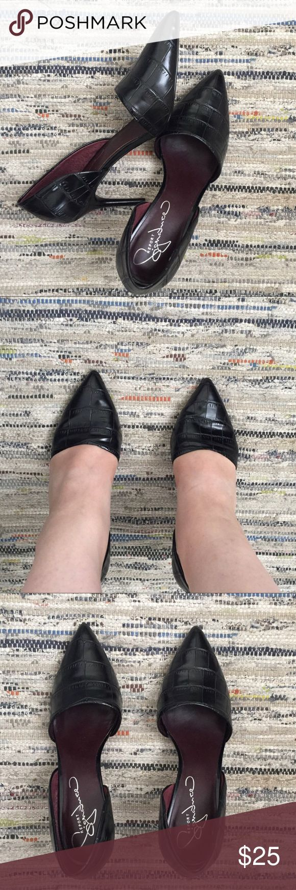 Black leather heals Beautiful vintage black leather pumps in pristine condition   They have such a sophisticated and minimalist look   A timeless shoe that has an unusual front cut giving it a modern look   They are comfortable and look amazing with a black outfit/ cocktail dress/ denim and honestly anything! Great for work Shoes Heels