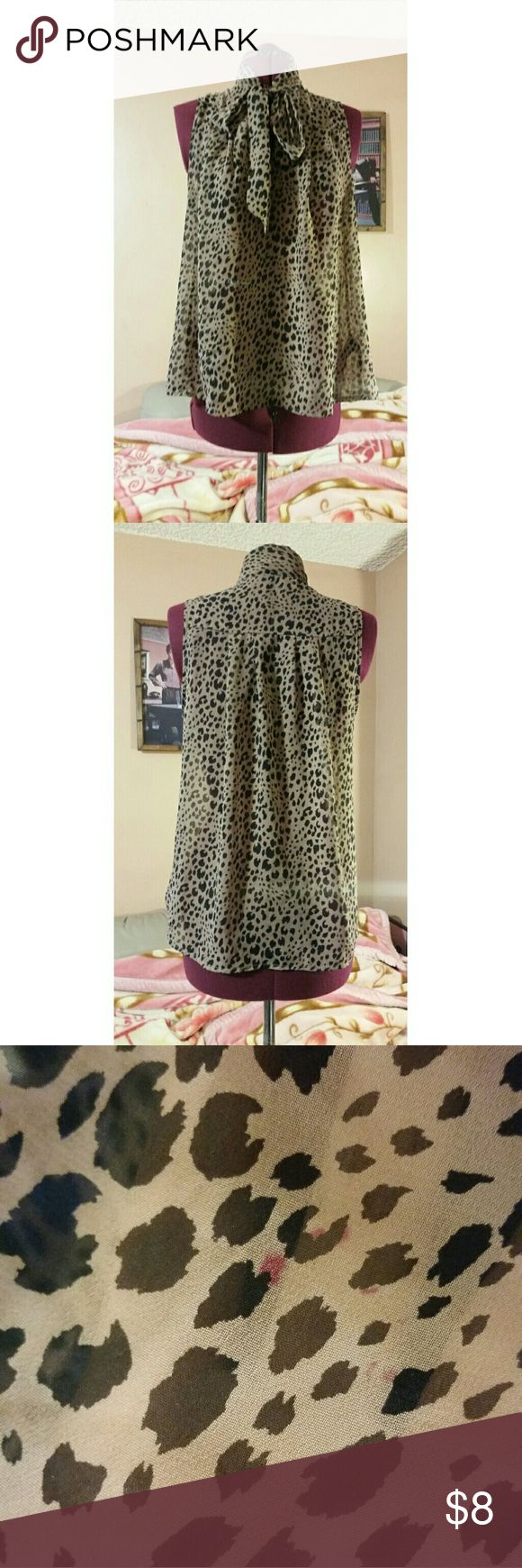 Forever 21 Leopard Print Loose Fitting Top VLV Leopard Print Loose Top W. Tie At Neck  *See Through, No Stretch, Loose Fitting, Has Collar, Has Ties For Decorative Bow At Neckline, Sleeveless!*  Only Flaw, Red Dots Done With Marker, Baby Nephew Accidently Made. Idk How To Remove It, Not Noticeable When Worn* Forever 21 Tops