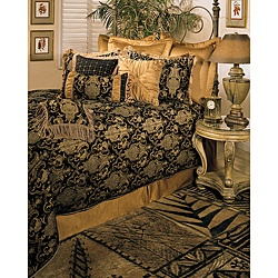 The Sherry Kline China Art bedding collection features a flowing Asian-inspired jacquard design in black and golds. This bedding set includes comforter, bedskirt, shams, and two decorative pillows.