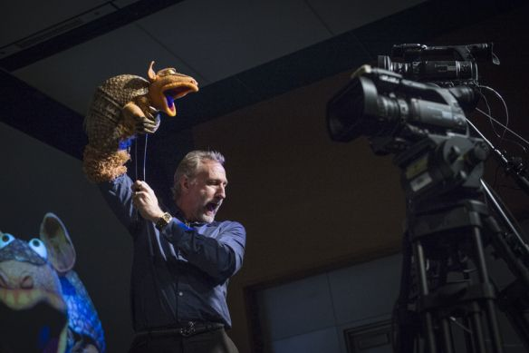 Brian Henson demos how to make a puppet lip sync perfectly, and turn to camera to create a personal connection with the viewer. Photo: James Duncan Davidson
