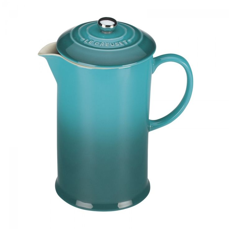 Le Creuset Stoneware French Press - Caribbean   A beautiful carribean blue french press, with excellent heat retention, plus it is chip, scratch and stain resistant. #lecreuset #blue #frenchpress