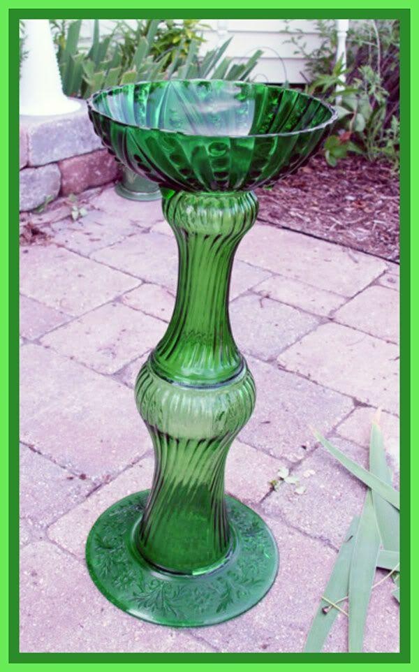 Vtg All Vintage GLASS Bird Bath Fountain Garden Accent | eBay