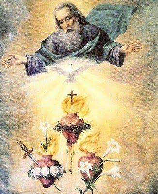 """La SSma. Trinidad, y los Corazones de Jesús, María y José. """"The Holy Trinity and the Hearts of Jesus Mary and Joseph"""""""