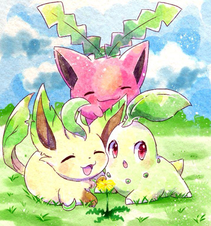 Hoppip, Chikorita, and Leafeon! :D