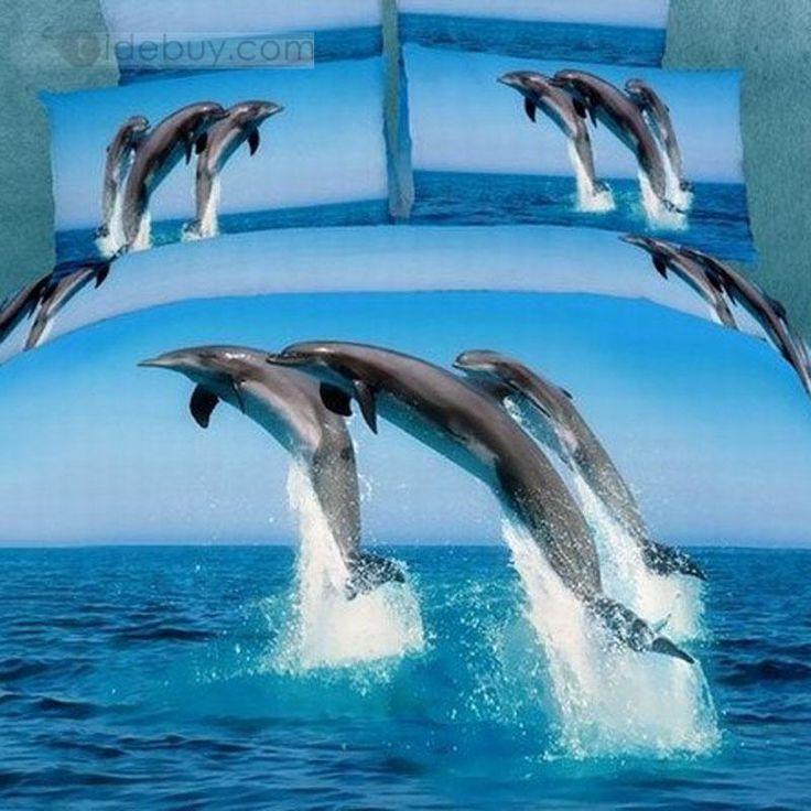 3D Painting Dolphin Cotton 4 Piece Queen Size Duvet Covers