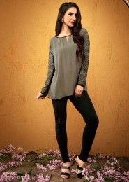 Casual Wear  Crepe Grey Embroidered Work Top