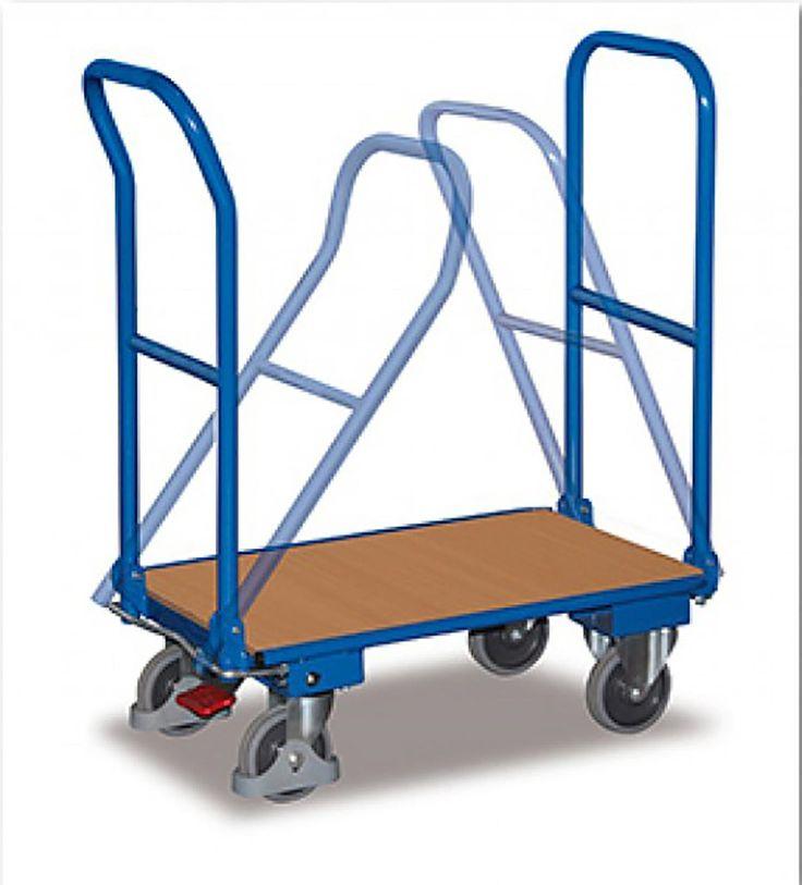 GTARDO.DE:  Stahl-Klappwagen 2 Bügel, Tragkraft 250 kg, Ladefläche 900 x 600 mm, Maße 1035 x 620 x 975 mm, Rad 160 mm 195,00 €