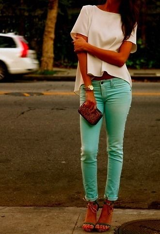 blue jeans <3: Mint Pants, Mintgreen, Colors Pants, Fashion, Mint Green, Style, Colors Jeans, Mint Jeans, Colors Denim
