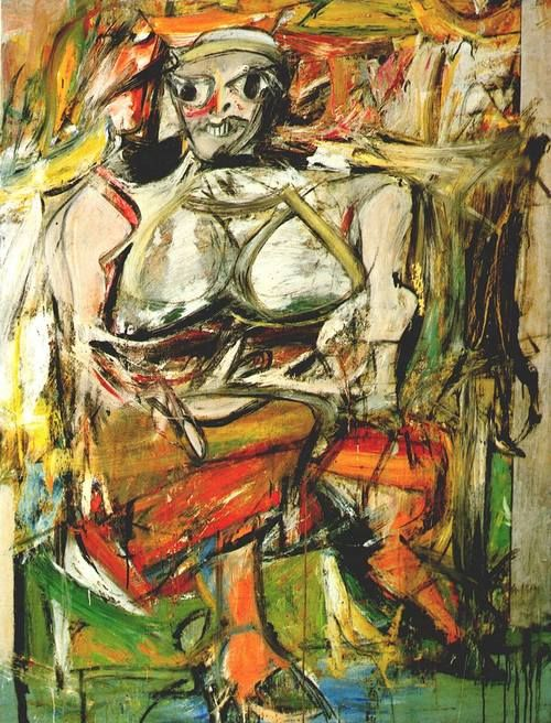 Willem De Kooning,  Woman I, 1950-2. Mixed media on paper, dimensions unknown. Collection unknown.