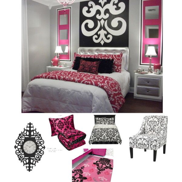 pink black white damask bedroom - Damask Bedroom Ideas