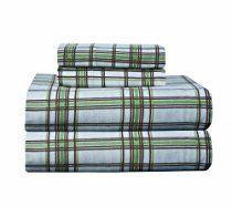Pointehaven Heavy Weight Printed Flannel Queen Sheet Set, Plaid, Sage