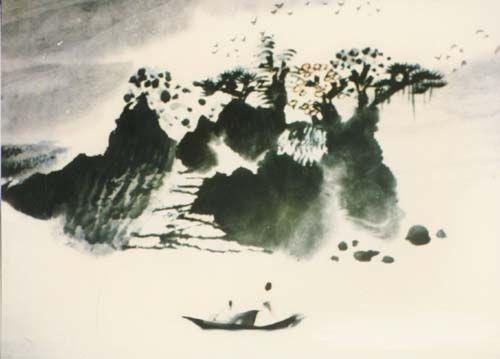 山水情   Chinese painting cartoon   ink and water
