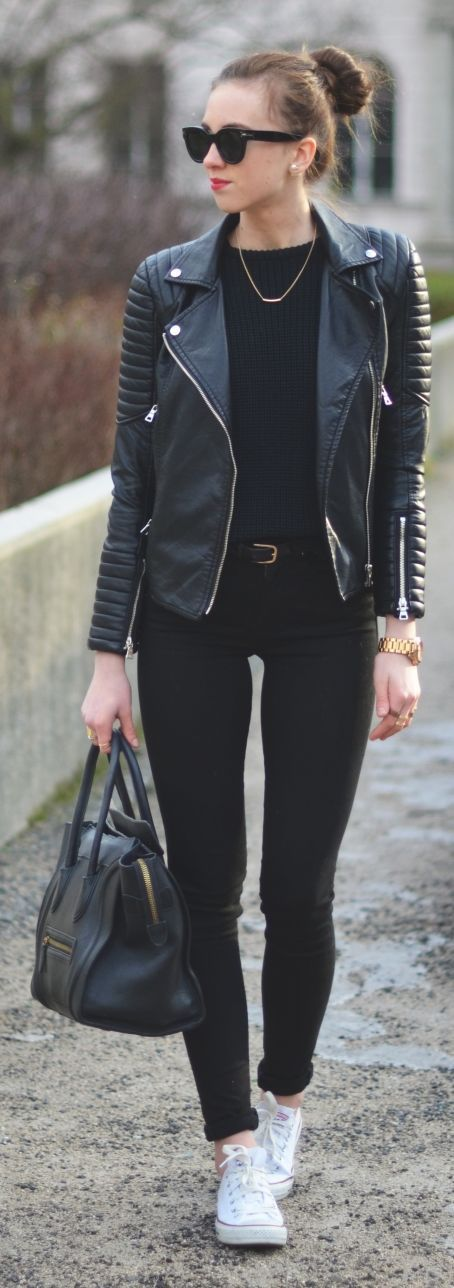 Black Leather Quilted Sleeve Biker Jacket by Vogue Haus Another jacket that caught my eye ~Jenell