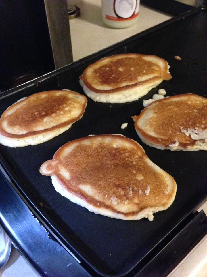 THM Baking Blend Pancakes  3/4 C baking blend 1 tsp baking powder 1/4 tsp salt 1 tsp truvia ----mix Add 1/2 C almond milk 1/4 C heavy cream 1 T melted butter 1 egg  Add coconut oil to the griddle and slather in butter and sugar free syrup on these. They are really good!