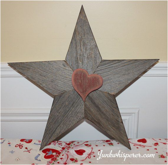 Reclaimed Barn Wood Red Star with Heart by JunkWhisperers on Etsy