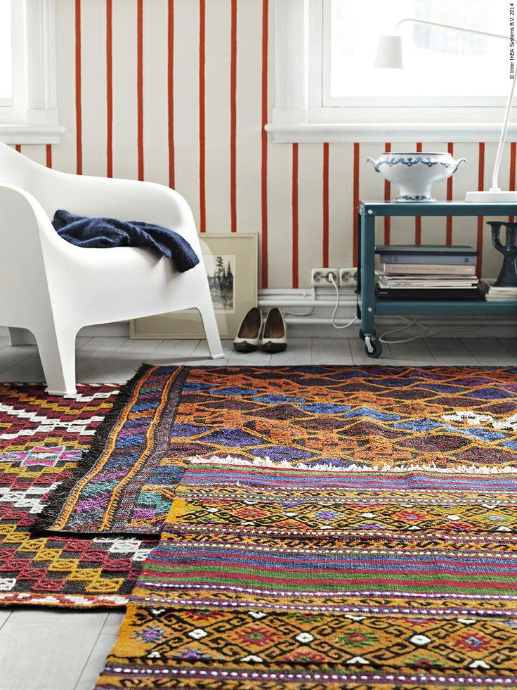 Vintagemattor får nytt liv i en tillfällig kollektion: TESTRUP, GUDHJEM och OKSLUND är tillverkade av utnötta mattor från Anatolien.