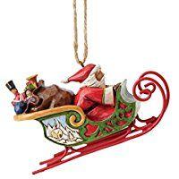 Heartwood Creek Weihnachtsmann in Schlitten zum Aufhängen Ornament