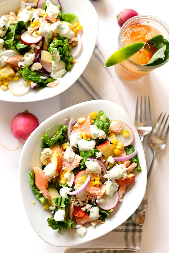 Easy Salmon Salad with Greek Yogurt Dill Dressing - Fit Foodie Finds