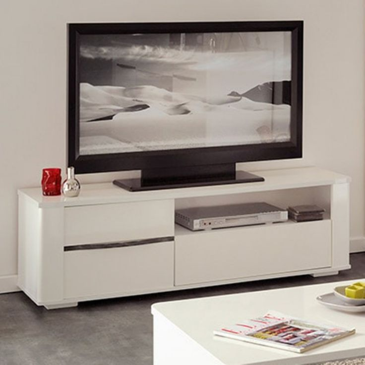 Parisot Ceram High Gloss White TV Stands / Unit with Drawers - 0307BATV