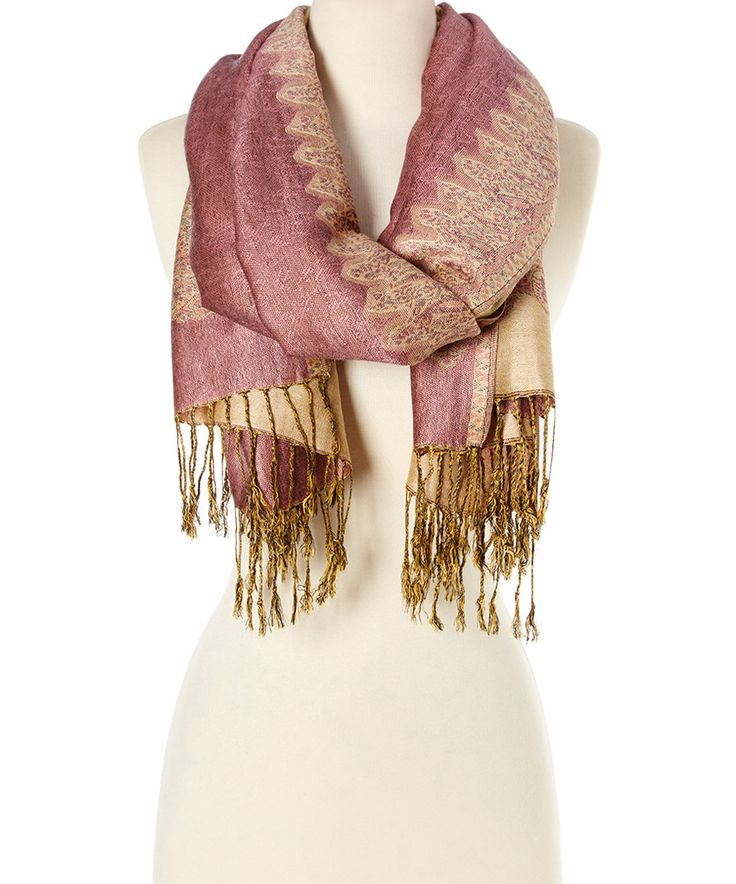 Take a look at this Italmode Blush & Beige Arabesque Fringe Scarf today!