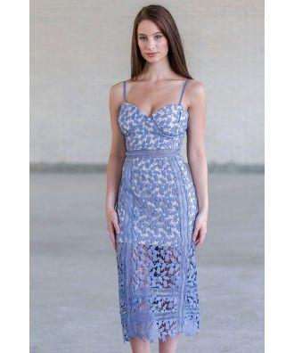 Sky Blue Crochet Lace Pencil Dress, Cute Blue Lace Cocktail Dress, Blue Lace Summer Dress Online