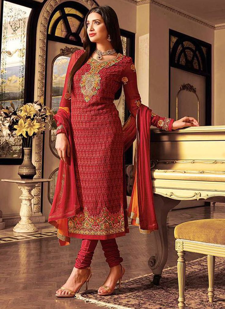 Impeccable Embroidered Work Red Georgette Churidar Designer Suit