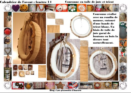 calendrier, avent, fenetre, 14, couronne, bois, beige, bouton, jute, toile, tricot, diy, récup, recyclage, transformation, diy, les pissenlits d'aurore