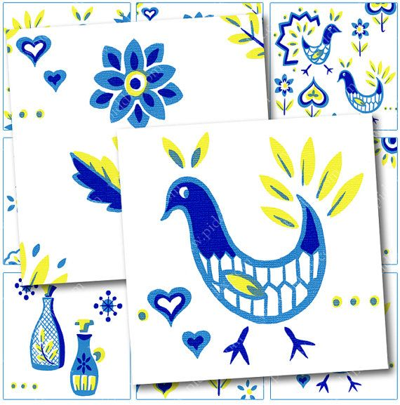 Retro Mid-Century Blue and Yellow Birds and Flowers, 1950s or 1960s. Square #printables by piddix 867.