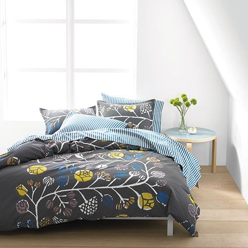 Marimekko Kranssi and Ajo Blue Stripe Percale Bedding #gray #blue #yellow