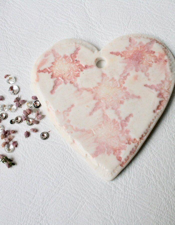 Handmade By Me Porcelain Light Pink Heart Ceramic Hanging Heart Home Decoration Pink Boho Style Heart Heart Decorations Ceramic Wall Decor Wall Ornaments