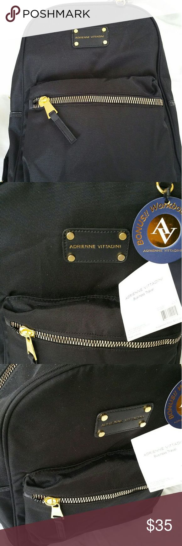Adrienne Vittadini Black Gold Backpack NWT Black and gold backpack with laptop sleeve Adrienne Vittadini Bags Backpacks