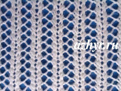 № 129 Ажурная вязка спицами сетчатого узора